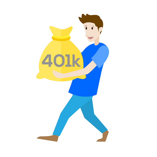 Man with 401K savings bag